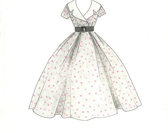 Vintage 1950 Polka Dots Fashion Illustration- Hand Drawn Retro Dress Fashion Sketch- Custom Illustration- Fashion Wall Art- Girls Room Decor