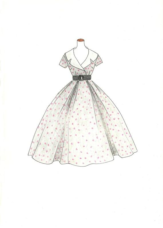Vintage 1950 Polka Dots Fashion Illustration Hand Drawn Retro