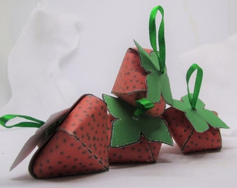 Paper Strawberry Stuffed with Hershey's Kiss, Strawberry Basket, Hershey's Kisses, Strawberries, Gift Basket, Party Favors, Hershey's,  0701