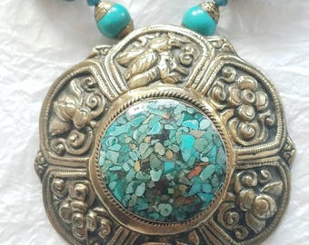 Mosaic Turquoise Dark Orange Amber Green Chrysocolla Pearl Brass Repousee Statement Necklace, NRR1532 SaRa Necklace