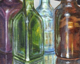 Original Acrylic Painting, Small Still Life Painting of Bottles on Canvas, Colored Vintage Bottle Collection