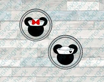 Cruise Mickey and Minnie Mouse Heads SVG, DXF, EPS, Studio 3, Png