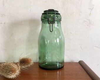 Vintage Glass Jar. Durfor. Green Glass Canning Jar. Storage Container. Rustic. Green Decor. Bocal Vintage. French Vintage. Kitchen Storage