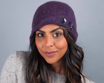 Women's Wool Felt Winter Hat // Merino Wool // Button Up Cloche // 1920's style // Gifts for Her // Beanie // Tuque // Good for Short Hair