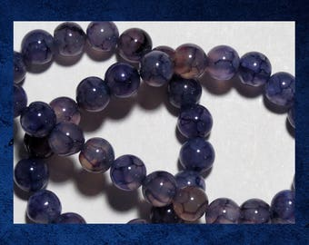 """Agate, Purple - 15"""" strand of 8mm smooth round ball. Approx 48 gemstone beads. #AGAT-452"""