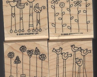 Simple Somethings 2003 Stampin Up Stamp Set Retired Set in Original Package Wood Mounted Rubber Stamps Birds, Flowers, Trees & Baby Carriage