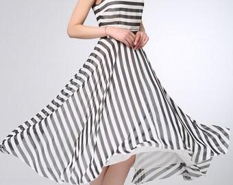 White and black dress, chiffon dress, stripe dress, prom dress, womens dresses, prom dress, summer dress, maxi dress, made to order (1202)