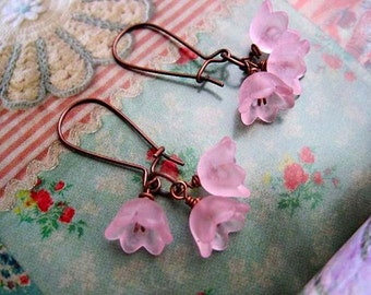 soft Pink Flower earrings Nature jewelry gift for teen