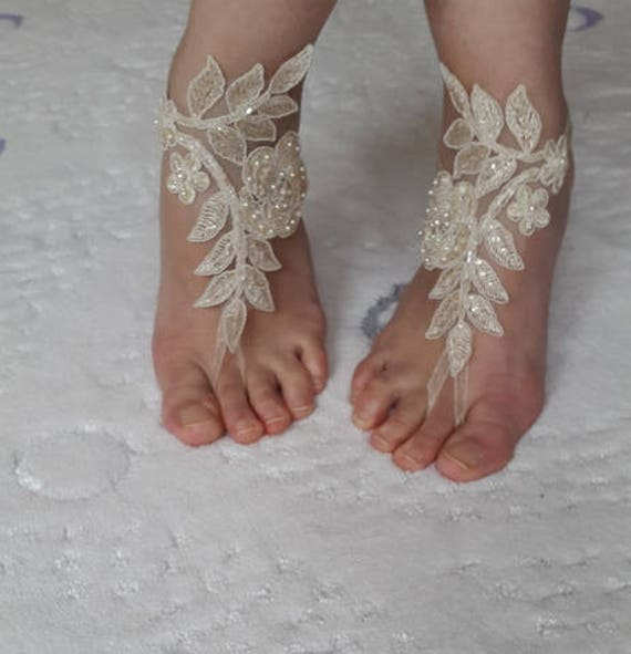 shoes wedding bridal summer shoes costume wedding barefoot champagne shoes shoes free accessories sandals lace shipping Beaded sandals ITqwp