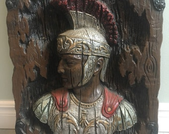 Vintage Girotti 3D Resin Wall Sculpture Roman Warrior Made in Canada 1969