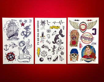 Temporary Tattoos - The Father And Son trio set // Gifts for kids and adults.