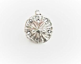 925 sterling silver oxidized sand dollar charm 1 pc.