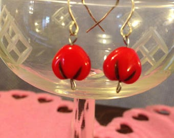 Tiny Red Bead Earrings