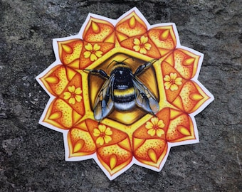 Bumble Bee - Bee - Bee Temporary Tattoo - Bee Tattoo, Bumble Bee Tattoo, Mandala Tattoo, Bee Mandala Temporary Tattoo, Bumble Bee Accessory