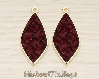 PDT1560-02-G-WI // Glossy Gold Plated Wine Colored Synthetic VELVET Covered Organic Diamond Pendant, 1 Pc