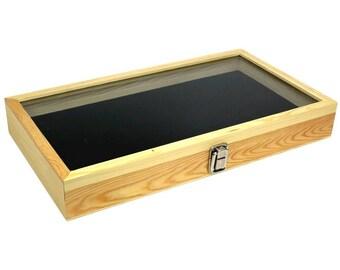 New 36 Glass Top Natural Wood Glass Top Cufflinks Jewelry Storage Organizer  Box