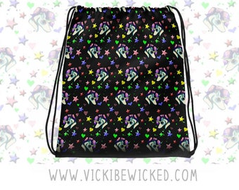 Pretty Unicorn, Kawaii Pastel Slingbag, Fantasy, Space Galaxy Drawstring Backpack