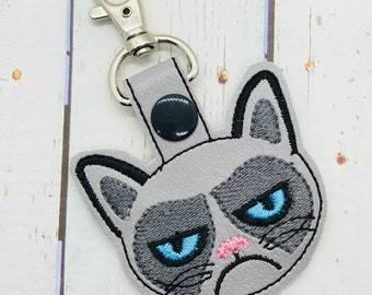 Grumpy Cat, Keychain, Key Fob, Snap Tab, Luggage Tag, Zipper pull, Bag Tags, Backpack, Purses