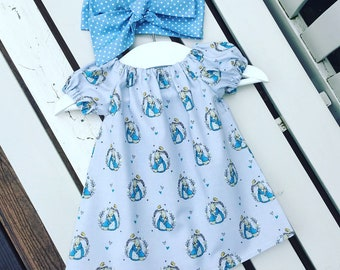 Ready to ship! Peter Rabbit Flopsy Bunny Cottontail BABY or GIRL'S DRESS in 100% grey and blue cotton fabric age 0-3 months