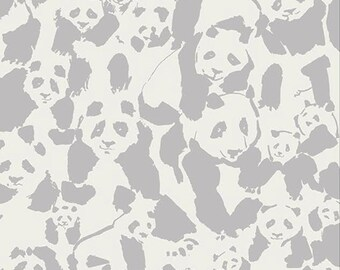 Panda Pandalicious Fabric by Katarina Roccella for Art Gallery Fabrics AGF Grey and Cream - Pandalings Pod Shadow - One Yard Fabric