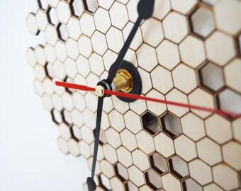 Honeycomb Clock Wall Clock Modern Clock Laser Cut Wood Clock Home Decor Unique Wall Clock Wall Decor Housewares Wooden Clock Kitchen Clock
