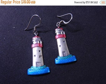 Spring Sale Vintage Lighthouse Silver and Enamel Earrings