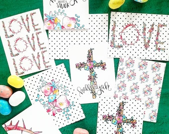 What a Savior Christian Journaling Cards 3x4 Pocket Pages Letters Print Fine Art Project Watercolor Life Easter hallelujah cross floral