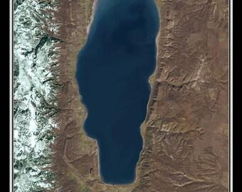 Bear Lake Idaho - Utah Satellite Poster Map