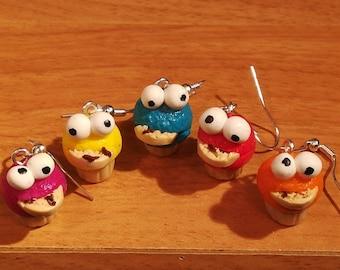 Cookie Monster Cupcake Earrings