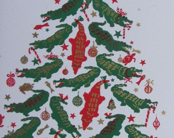 Alligator Tree Christmas Card - box of 6 - hand silkscreened