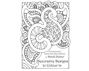 Decorative Designs to Colour In. 62 different pages to download and print out.
