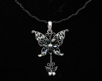 Crystal Butterfly Pendant Charm With Black Beads Beaded Chain Necklace Black Gray Grey