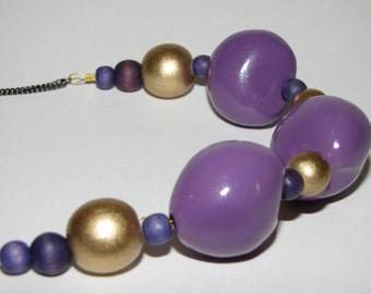 Wooden chunky purple and gold beaded necklace