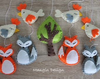 SALE! Woodland mobile musical cot mobile fox mobile woodland nursery decor fox hen baby mobile