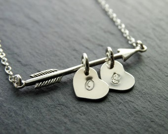 Arrow Necklace Initial Jewelry Initial necklace Initial Personalized Jewelry Sterling Silver Necklace valentine's gift