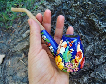 Wooden pipe for tobacco smoking - Hand painted wooden pipe - Floral pipe - Boho smoking pipe - Collectible peace pipe - Birds and flowers