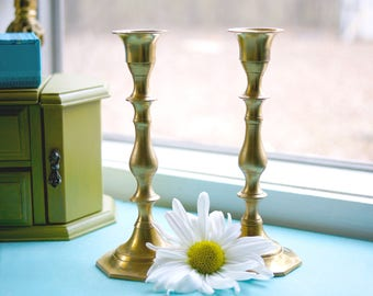Pair Vintage Mid-Century Solid Brass Candlestick Holders (Made in India)
