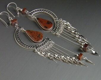 """Long Chandelier Earrings with Tiger's Eye Gemstone Unique 4.25"""" Long Stone Earrings Bohemian Earrings Model W1"""