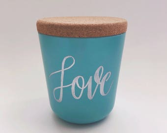Love 15oz Bamboo Jar with Cork Lid/Custom/Hand Lettered/Embossed/Kitchen Storage