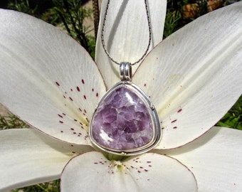 Vintage Lepidolite Mica in .925 Sterling Silver Pendant-95 Cts.  43mm L X 34.5mm W