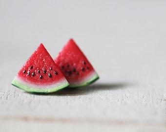 Watermelon Stud Earrings - Small Ear Studs - Earrings Post - Food Jewelry - Vegan Earrings