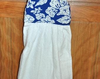 Two Hanging Hand Towels Blue & White Batik Coconut Button ~1 Set