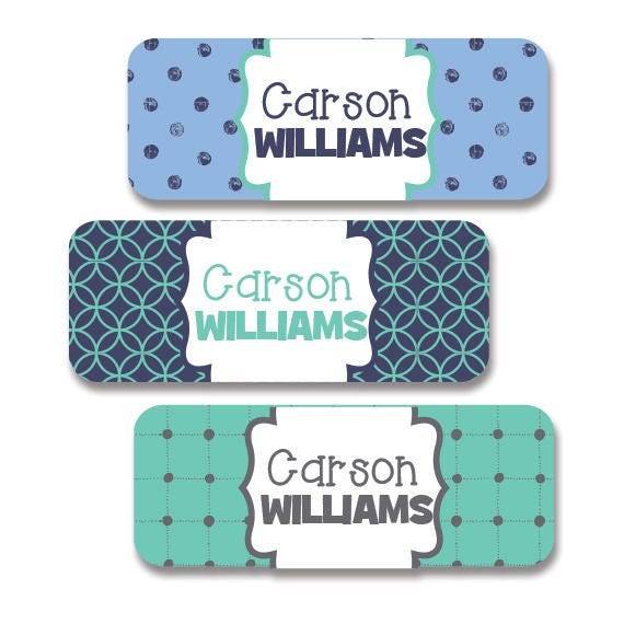 Boys Premium Name Labels: Boys Waterproof Name Labels Mint Blue And Gray. 30 School