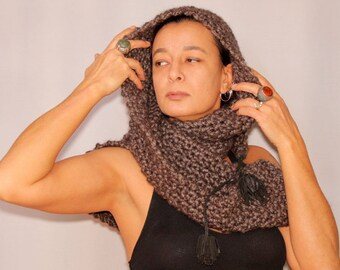 Charcoal Cowl Hooded Scarf, Knit Hooded Scarf, Gray Hood Cowl, Hooded Shawl, Soft Wool Hood Scarf, Leather Pom Pom, Unique Winter Gift Idea
