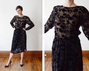 1980s Burnout Silk Velvet Dress - S
