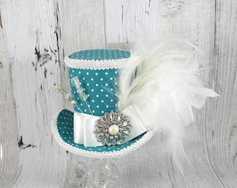 Teal and White Polka Dot Empress Collection Large Mini Top Hat Fascinator, Alice in Wonderland, Mad Hatter Tea Party, , Derby Hat