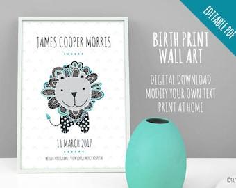 EDITABLE DIY Grey Lion Birth Print Announcement | Instant Digital Download | Original Doodle Design