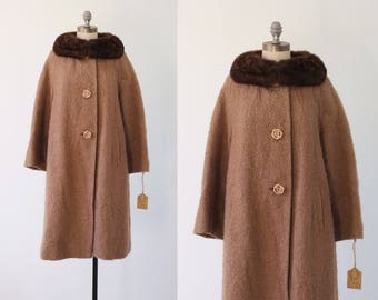 WINTER SALE 30% OFF! vintage coat |  brown boucle wool coat | 1960s brown wool coat | 60s boucle wool coat | fur collar coat | 60s wool coat