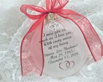 Memorial Christmas Ornament Gift - I Miss You As Much As I Love You - Free Personalization and Charm