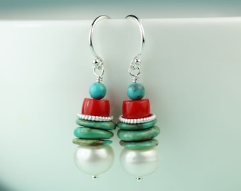 Turquoise Pearl Coral Silver dangle drop earrings by art4ear, turquoise jewelry, modern pearl and turquoise earings, gift idea for her, bold